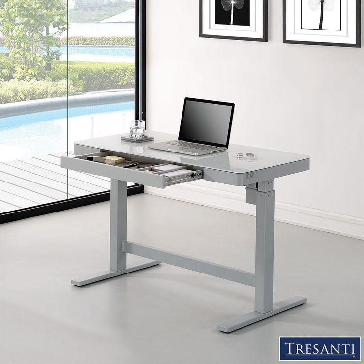 Twin Star Power Adjustable Tech Desk Coastal In 2019