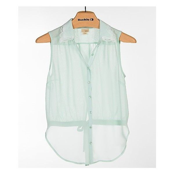 Women's Chiffon Shirt in Green by Daytrip. ($14) ❤ liked on Polyvore featuring tops, green, sleeveless shirts, green chiffon shirt, sleeveless tops, button front shirt and daytrip shirts