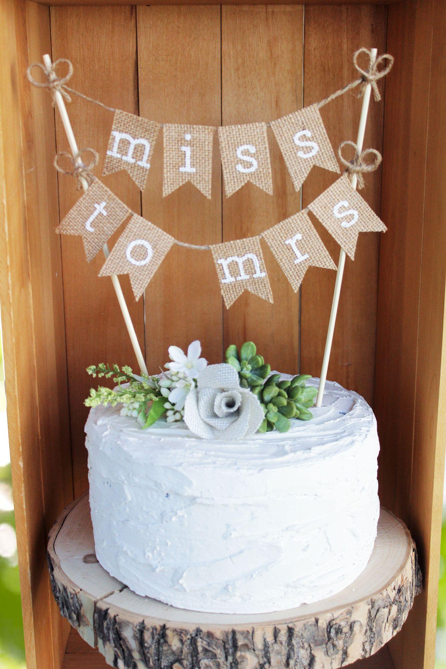 Bridal Shower Cake Topper Bride To Be Burlap Bridal Shower