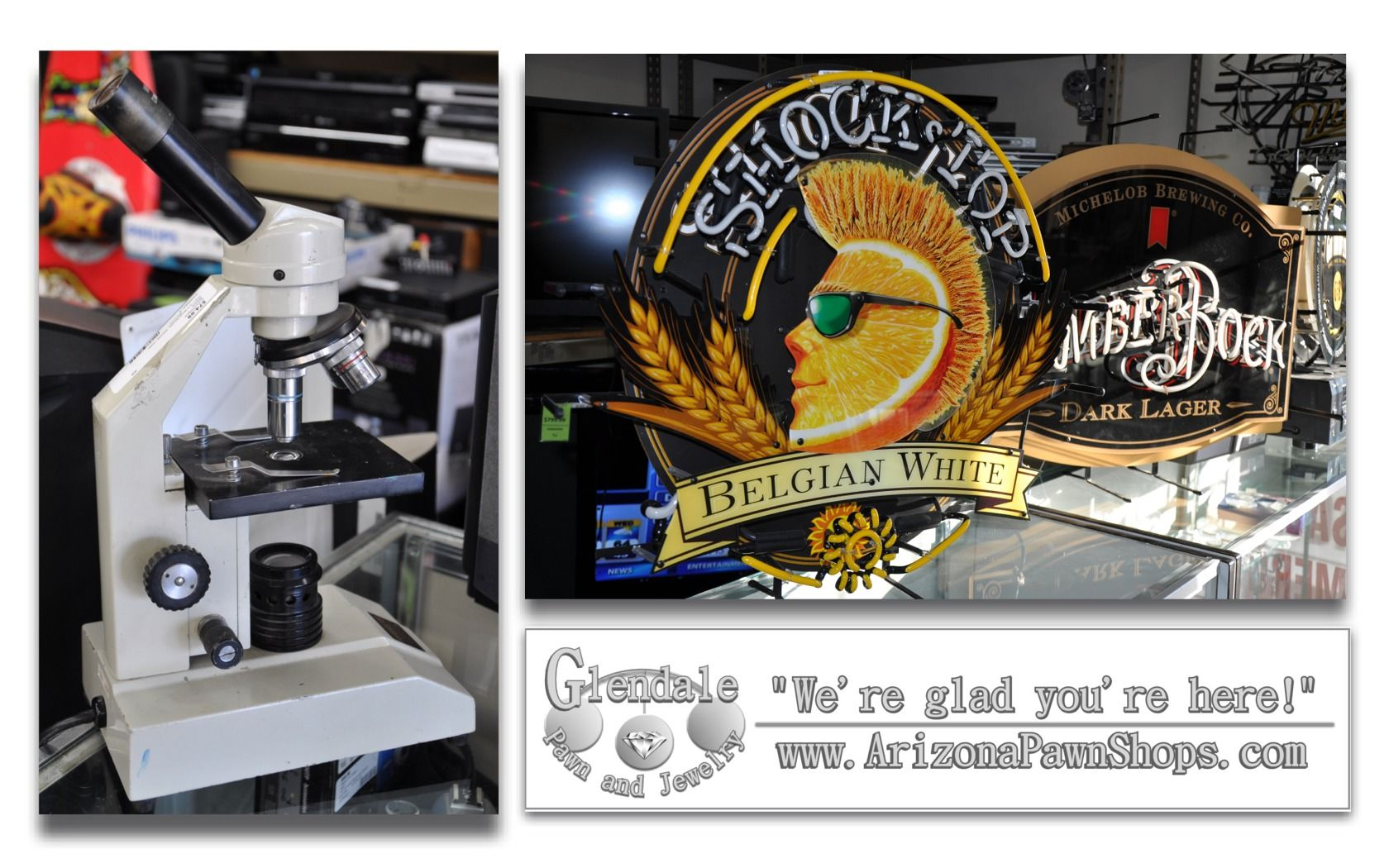 Medical grade microscope and some rare neon beer signs...all on the same shelf...gotta love that!