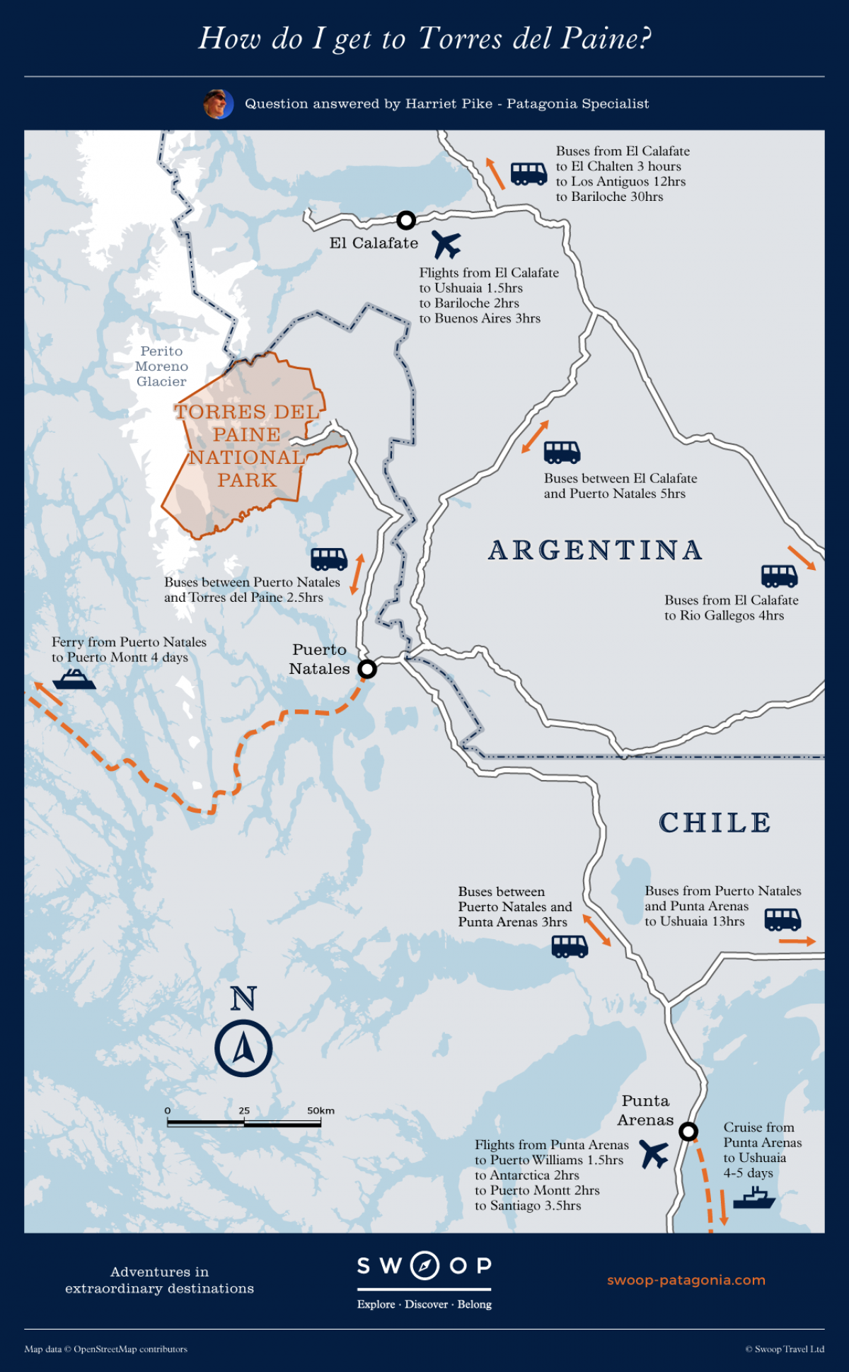 How Do I Get To Torres Del Paine Patagonia Map Torres Del