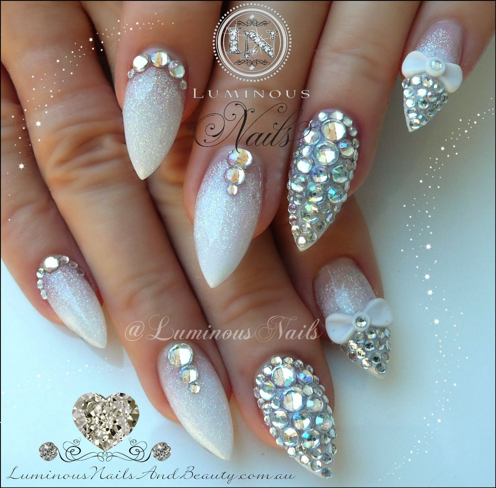 Here Comes The Bride With Some Awesome Nails: Here Comes The Bling, Wedding Nails With Rhinestones And
