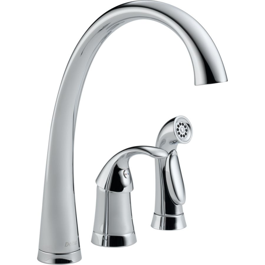 Delta Pilar Waterfall Chrome 1 Handle High Arc Kitchen Faucet With Side  Spray