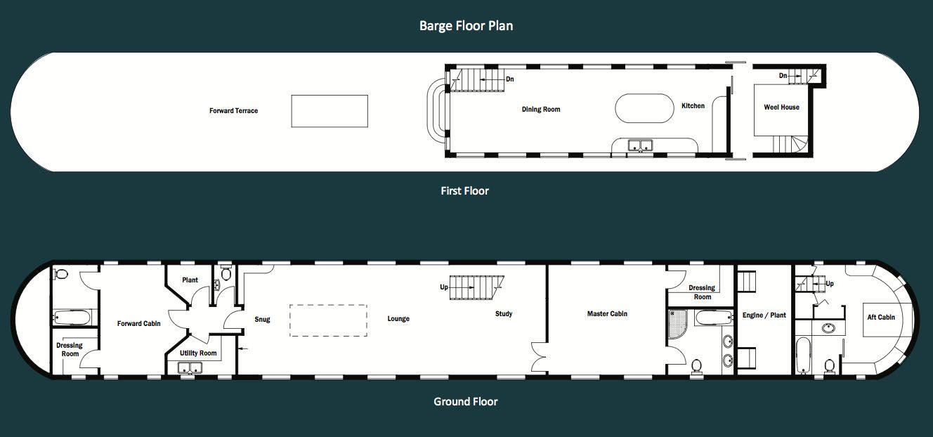 oyster pier residential barge floor plan boat in 2019 barge rh pinterest com