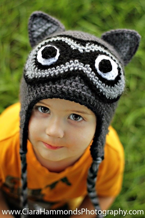 Raccoon Earflap hat CROCHET PATTERN includes 4 sizes PDF 21 | toucas ...