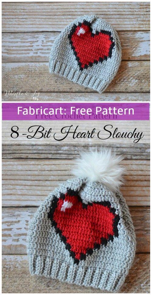 Crochet 8-Bit Heart Slouchy Hat | Crocheted Crap | Pinterest ...