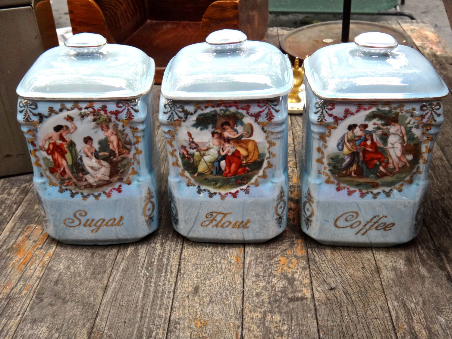 Canisters, Flour Sugar Coffee Containers, Victoria China Czechoslovakia,  Luminscent Kitchen Storage, Victorian