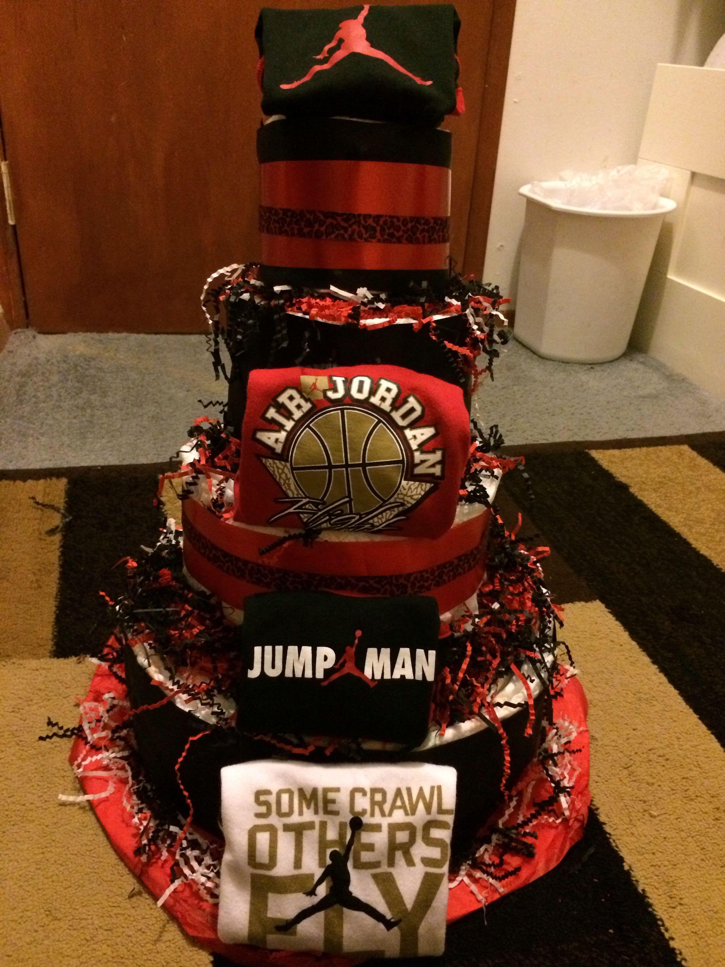 Air jordan diaper cake Basketball theme baby shower