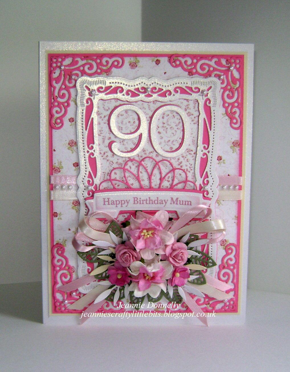 90th Birthday Card For A Mum Using Lovely Shade Of Pink That I Got At Hillmount This Time Spellbinders Radiant Rectangles And Ribbon Banners