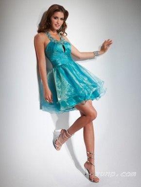 Turquoise Mini Dresses With Jewel