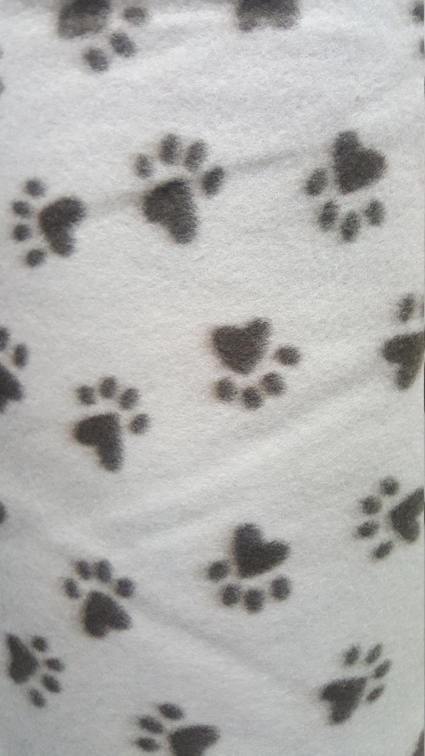 Brown large paws on taupe print fleece fabric by the yard pet bed