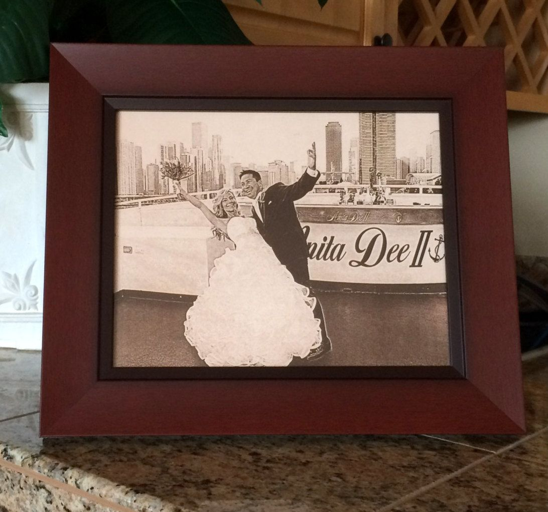 Memories Made into Art + Photos on Leather, Third Wedding Anniversary, Christmas Gift, Mother's Day Gift, Father's Day, Engraved Photos, Wood Frame, Custom Photo by giveitengraved on Etsy