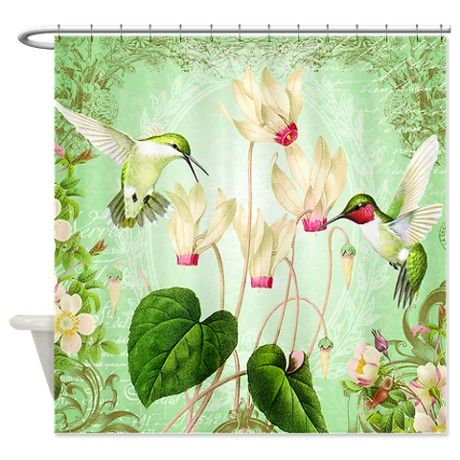 Modern Vintage French Hummingbirds Shower Curtain French