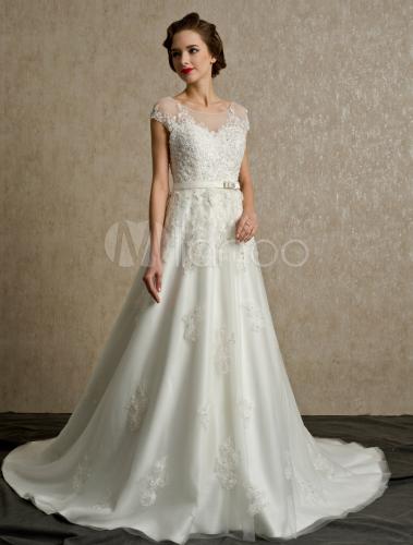 Vestido de Sash tribunal tren vestido de novia marfil con cuello Bateau - Milanoo.com