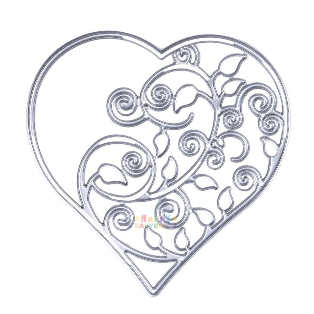 Hollow Out Heart Flower Metal Cutting Dies Stencil for DIY Scrapbooking Photo