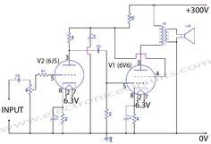 6v6 6j5 class a valve vacuum tube amplifier circuit wiring diagram rh pinterest com