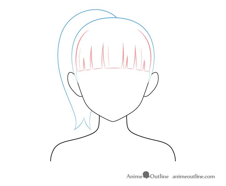 How To Draw Anime And Manga Hair Female Animeoutline Manga Hair Anime Drawings Ponytail Drawing