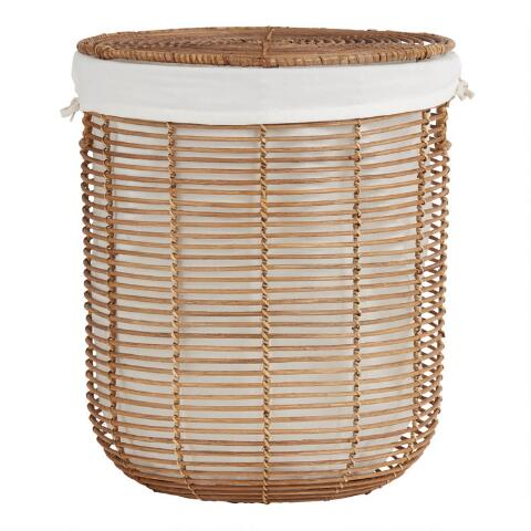 Natural Rattan Hayley Hamper With Lid And Lining Laundry Hamper