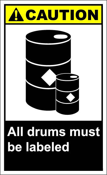 All Drums Must Be Labeled 1 64 Signs Chemical Waste Storage Area Hazardous Waste