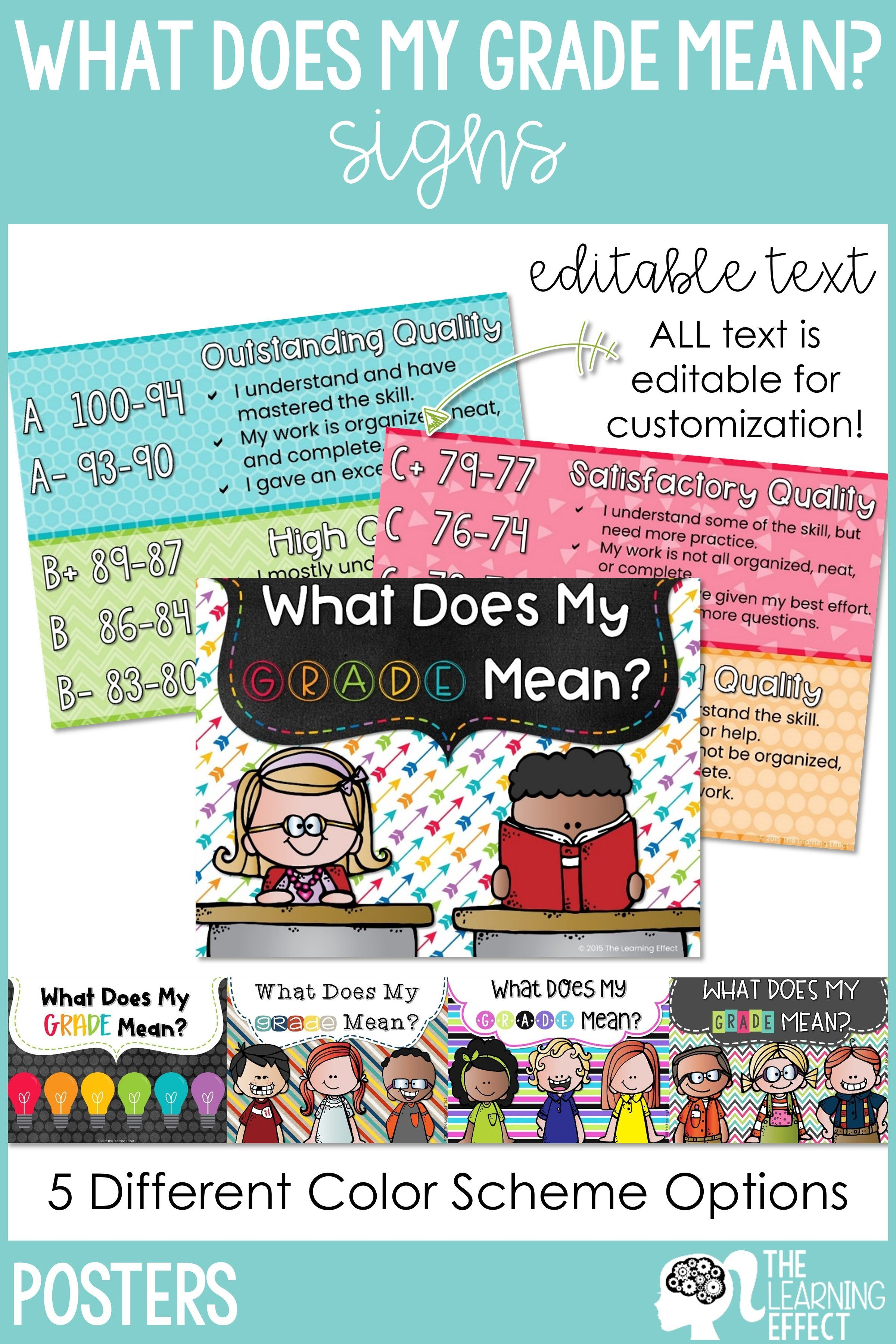 What Does My Grade Mean? Editable Organization skills