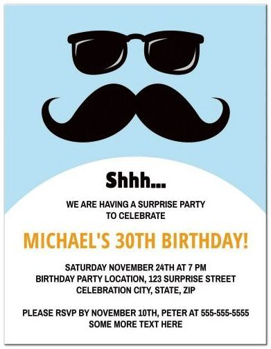Funny Incognito Face With Mustache And Sunglasses Surprise Birthday Par Mustache Party Invitations Surprise Birthday Party Invitations Birthday Surprise Party