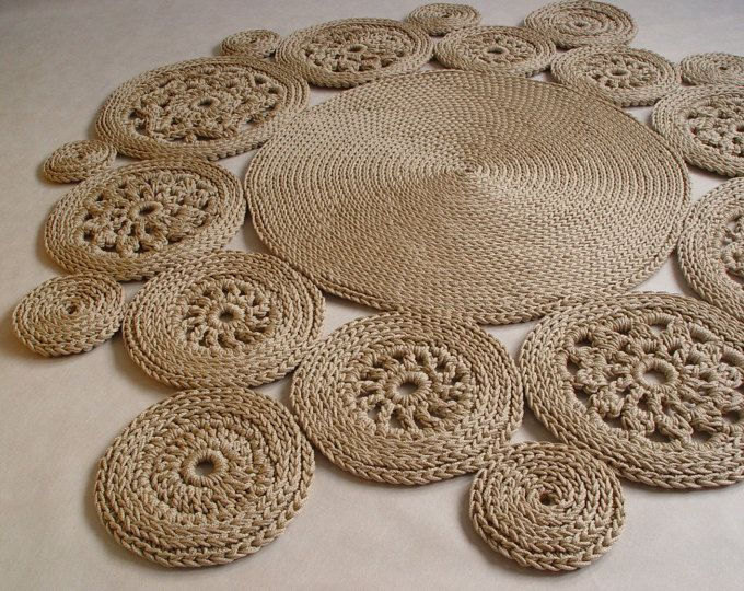 Grey, cotton cord, round rug, crochet rug, crochet carpet, knitted ...