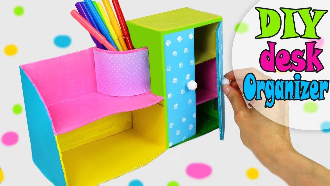 Diy Desk Organizer Multifunctional From Cardbox Easy Tutorial Desk Organization Diy School Diy Cardboard Box Crafts