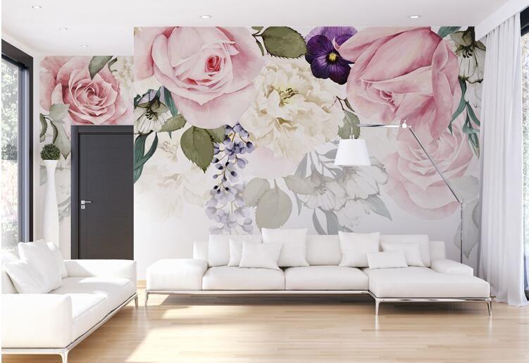 Европа Стиль Розовые Розы Фрески Обои Фото Mural Roll для ...