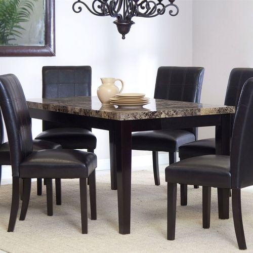 3ft X 5ft Contemporary Dining Table With Faux Marble Tabletop In