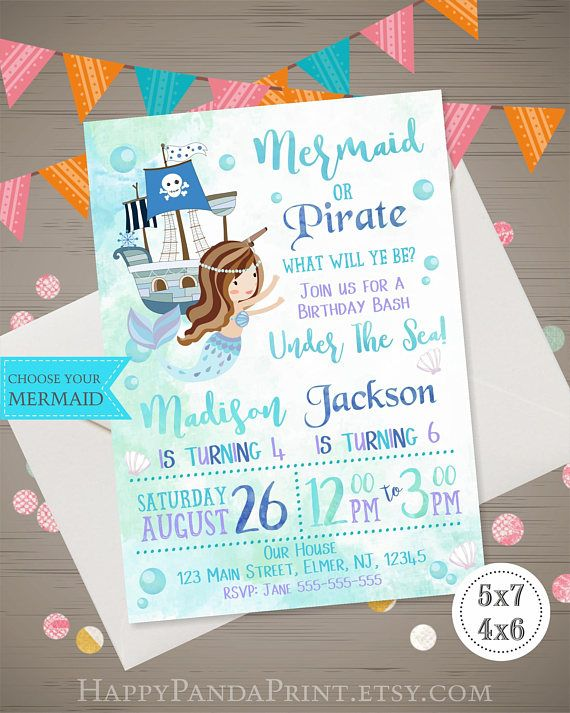 mermaid pirate birthday invitation watercolor mermaid pirate