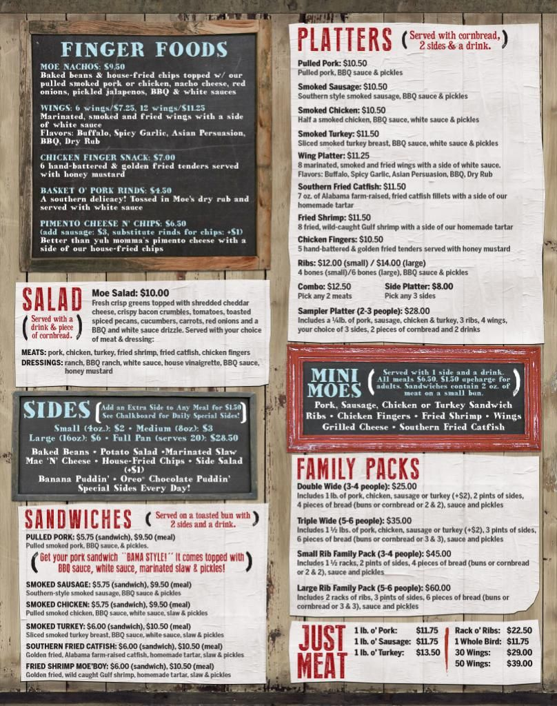 image regarding Moes Printable Menu identified as Moes Primary BBQ :: Daphne Menu Moes BBQ Chalkboard