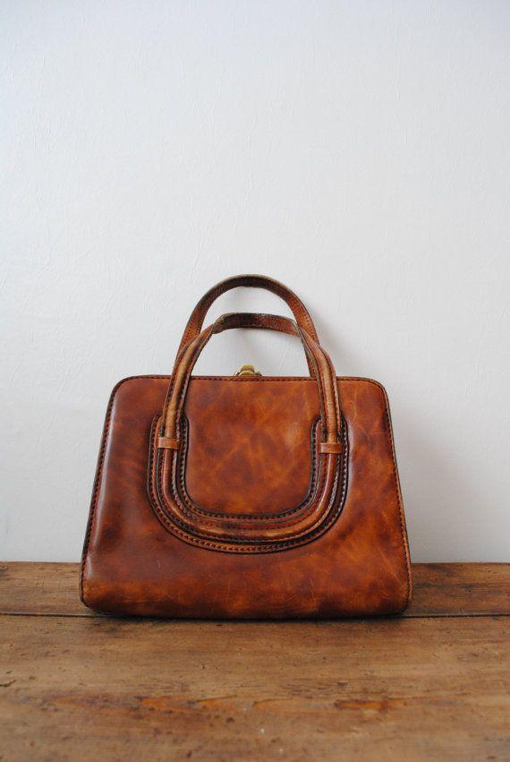 364e79f753 Vintage Purse 1970s Handbag Classic Brown Faux Leather Retro Bag ...