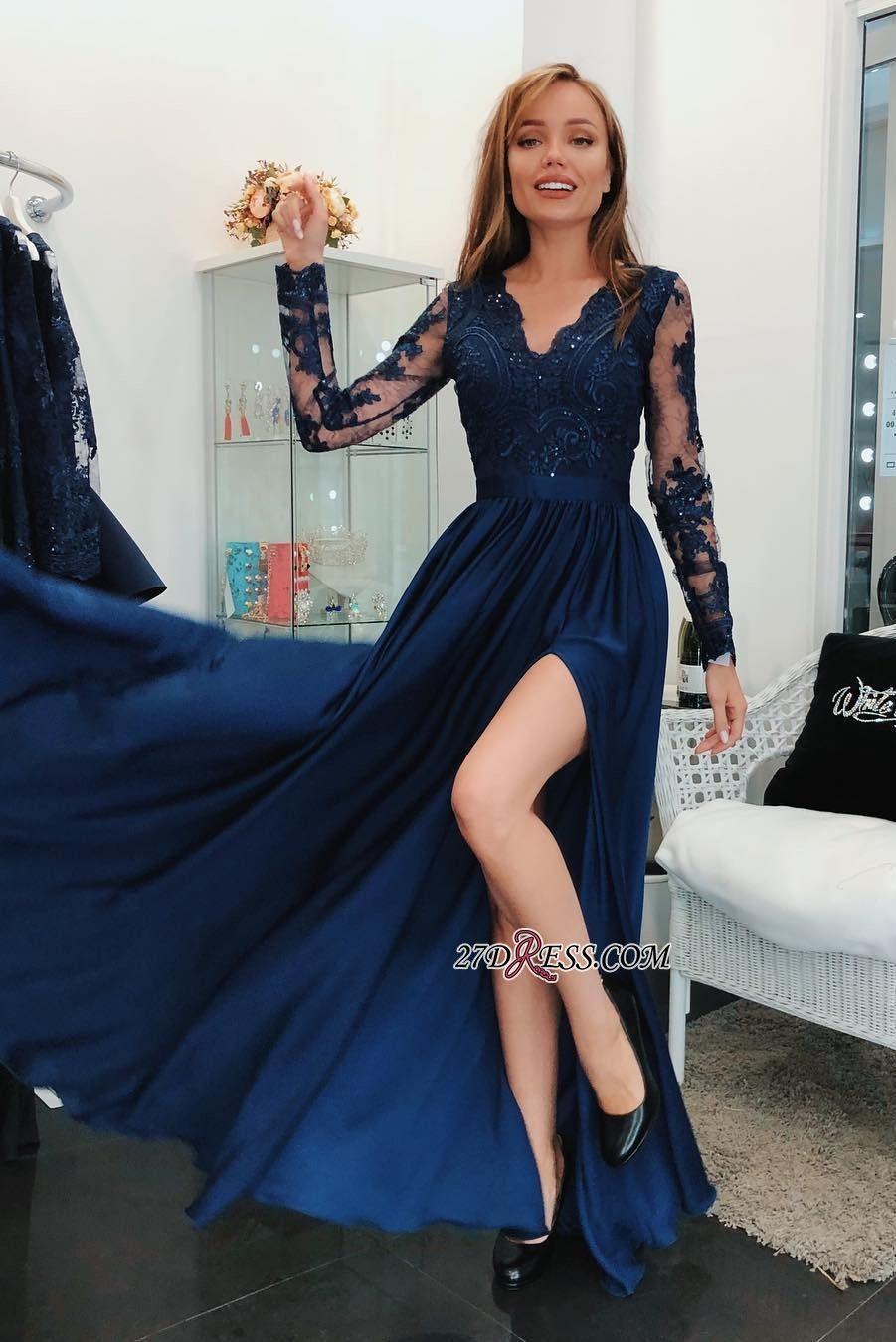 Modern Long Sleeve Lace Appliques Evening Dress Front Split Evening Dress High Quality Wedding Dresses P Prom Dresses Blue Prom Dresses Long Banquet Dresses [ 1350 x 901 Pixel ]