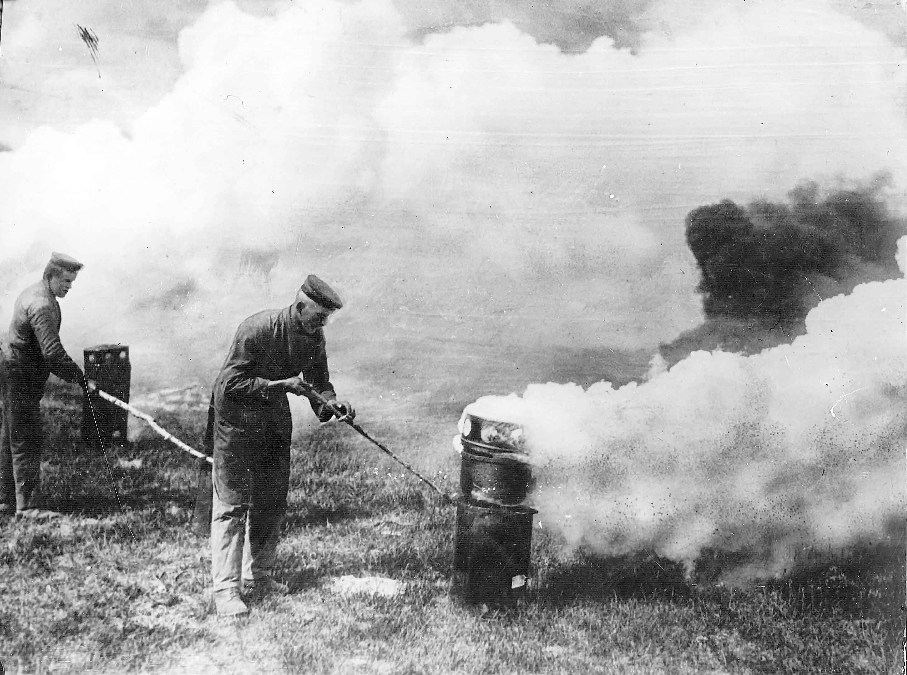 German soldiers ignite chlorine gas canisters during the Second ...