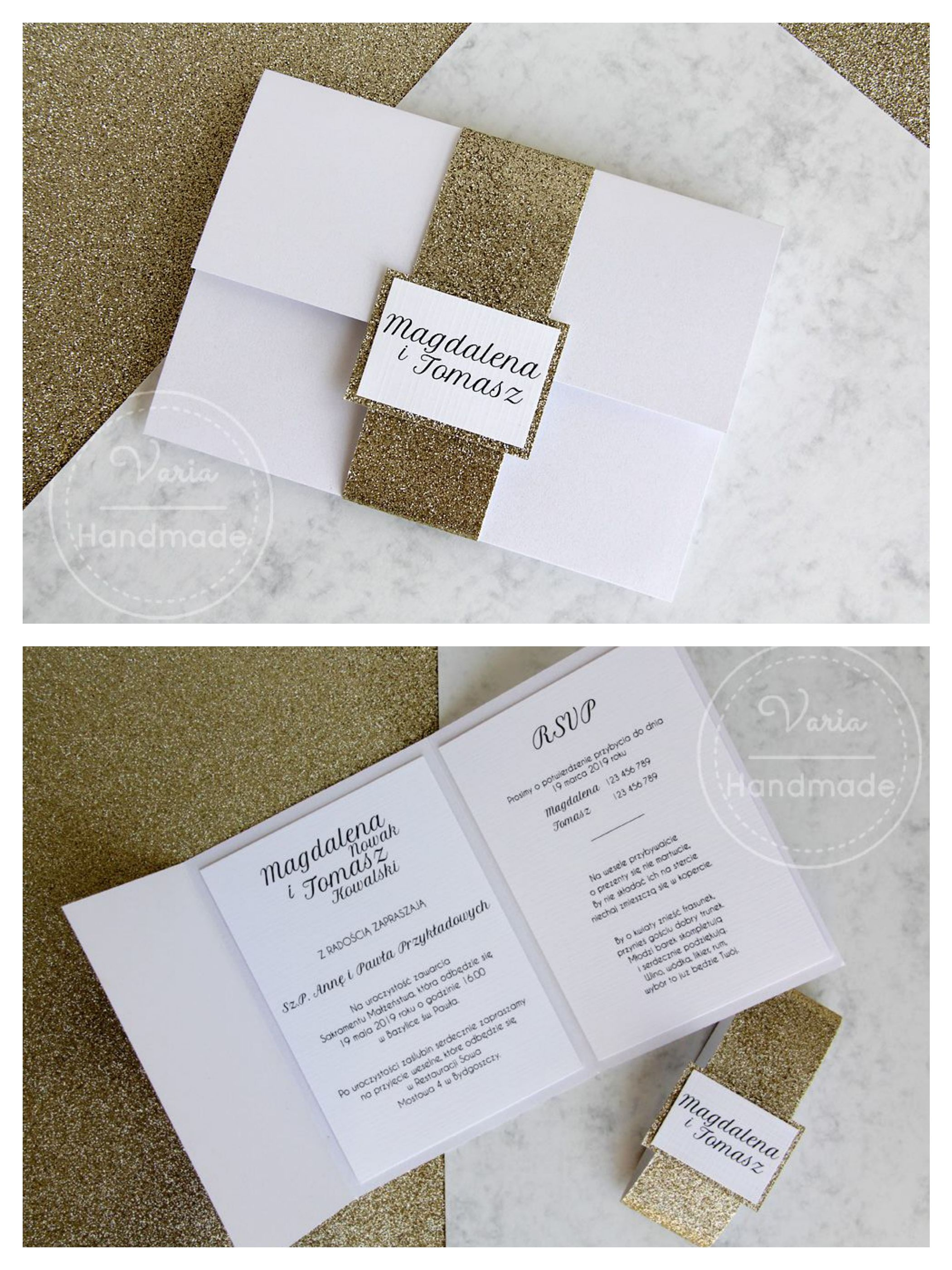 Glitter Wedding Invitations Zaproszenia ślubne Glitter Wedding
