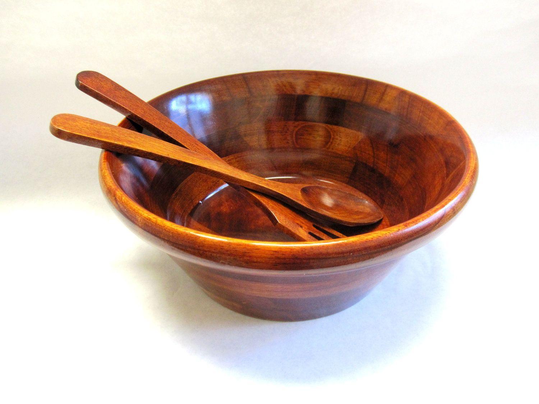 70s modern wood salad bowl set large set julie pomerantz - Wooden Salad Bowls