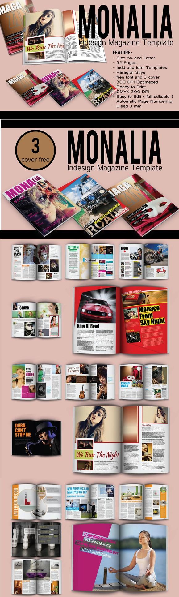 Monalia Indesign Magazine Template