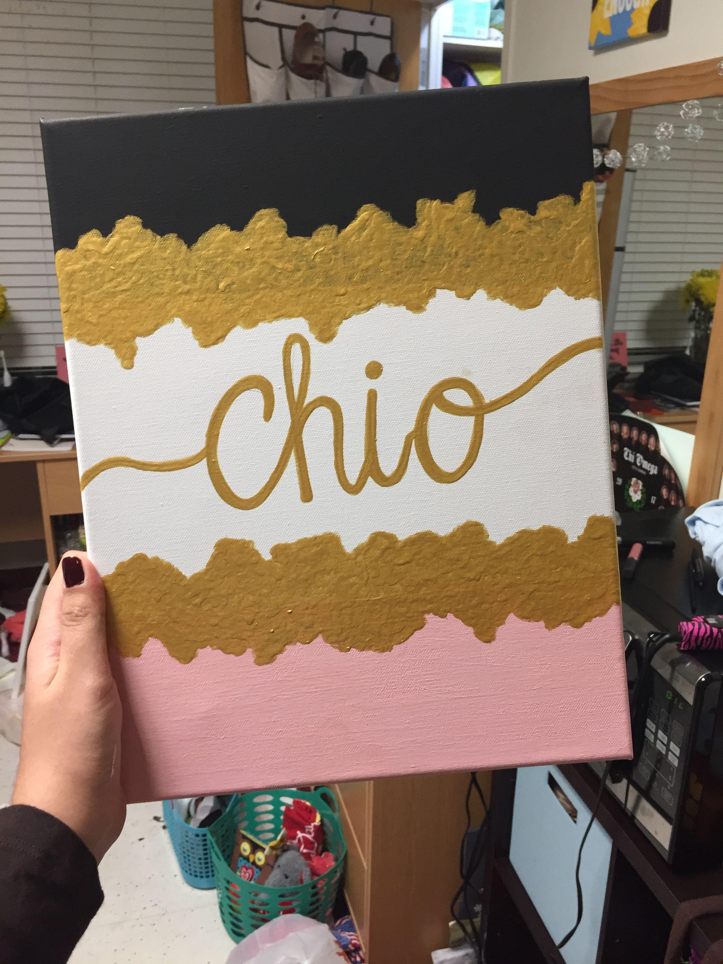 Chi Omega gold, pink, and black canvas for Big Little Week #biglittlecanvas