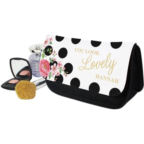 Personalised Floral Polka Dot Cosmetic Bag ($11) ❤ liked on Polyvore featuring beauty products, beauty accessories, bags & cases, makeup bag case, dop kit, makeup purse, make up purse and wash bag