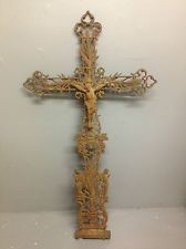 Stunning Antique Large French Architectuaral Cast Iron Crucifix Cross.