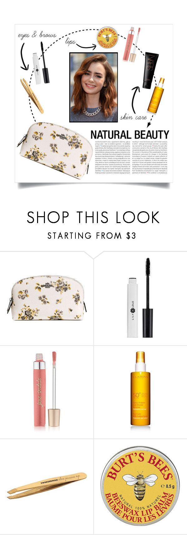 """""""Natural Beauty : Simple Yet Gorgeous"""" by the-silent-queen ❤ liked on Polyvore featuring beauty, Coach, Oris, Jane Iredale, Clarins, Tweezerman, NARS Cosmetics, simple, natural and lilycollins"""