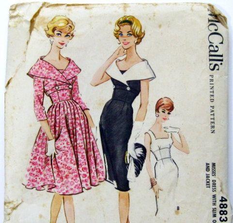 1950s Dress Pattern: Wiggle Dress and Jacket, Full Skirt Dress, McCalls 4883