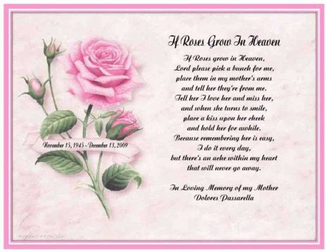 Personalized If Roses Grow In Heaven Memorial Gift Mother ...