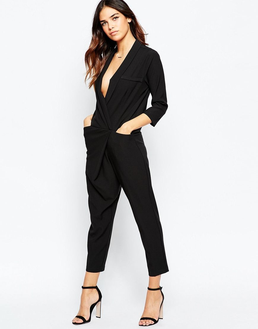 ASOS PETITE Tuxedo Jumpsuit with Wrap Front and Long Sleeves