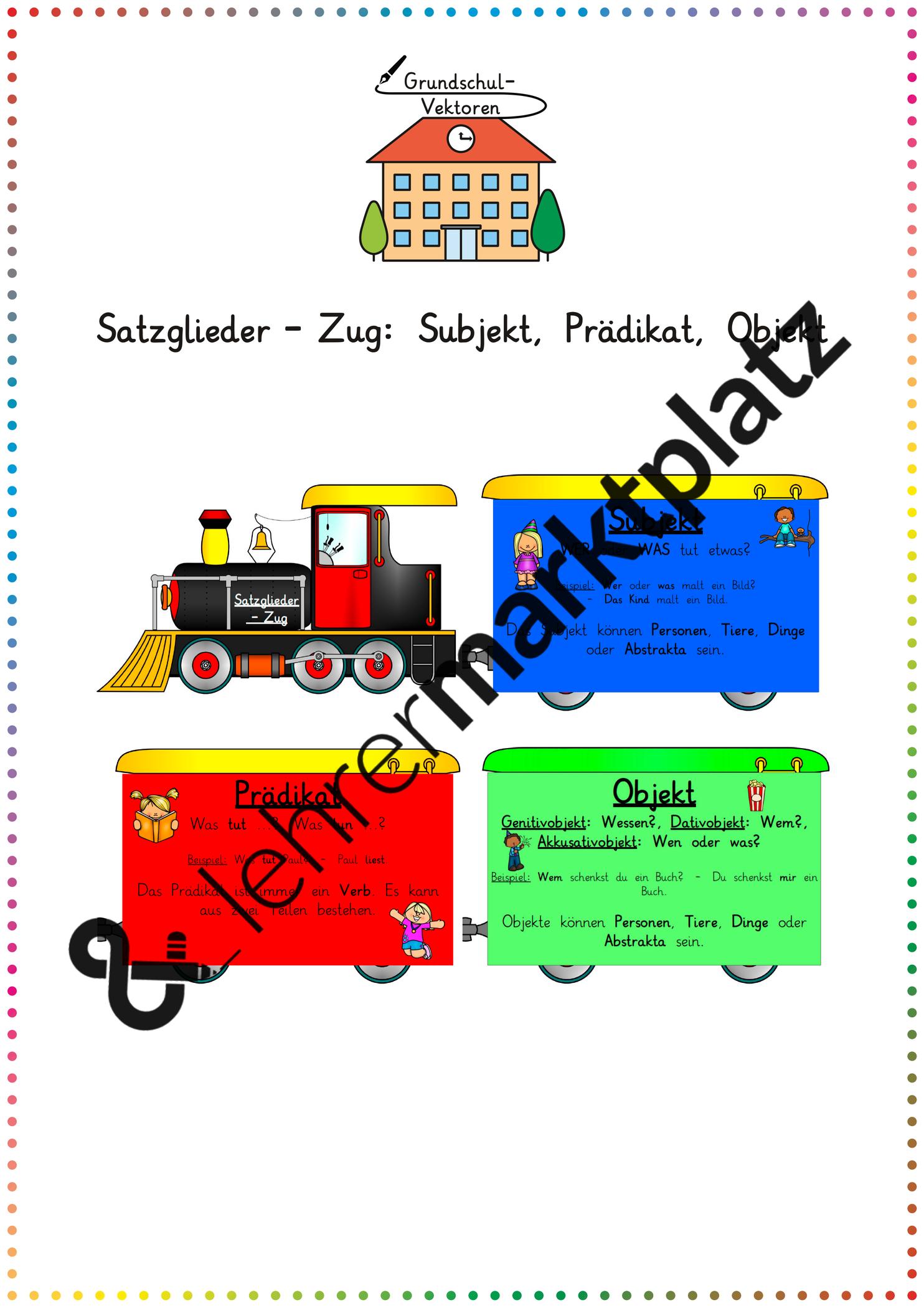 Satzglieder Zug Subjekt Pradikat Objekt Unterrichtsmaterial Im Fach Deutsch In 2020 Satzglieder Unterrichtsmaterial Einfache Satze