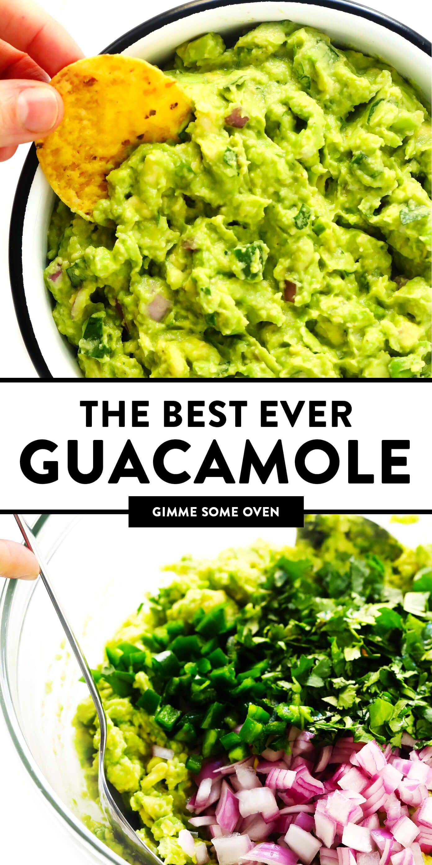 The BEST guacamole recipe!! It's quick and easy to make, and always the hit of a party. Serve it up