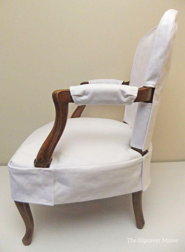 Simple White Denim Slipcover For French Chair Slipcovers