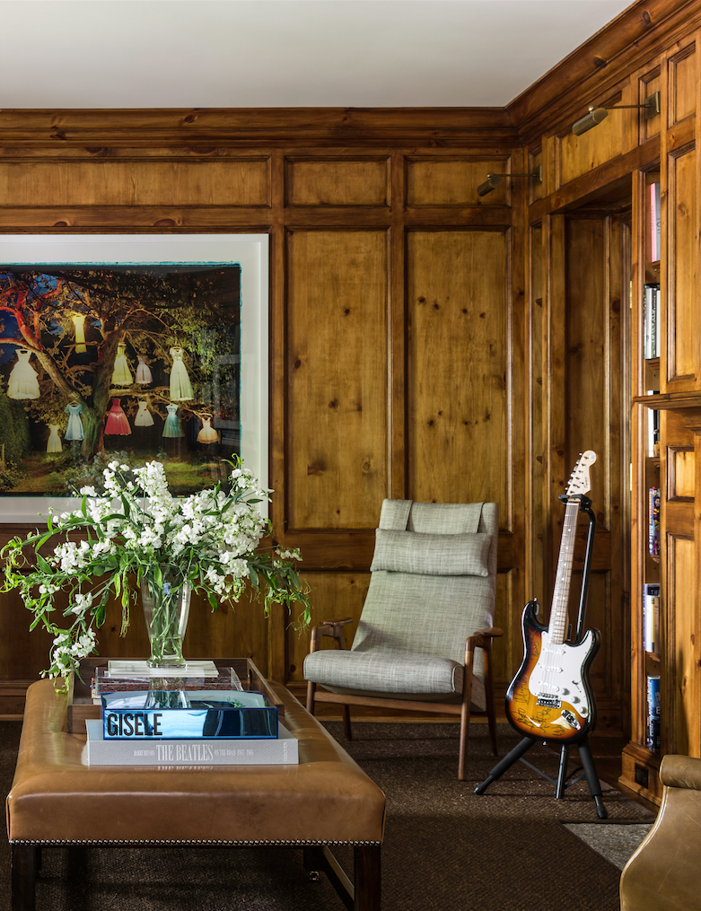 Wood Paneled Den: Home Tour: Edie Parker Founder Brett Heyman's Connecticut