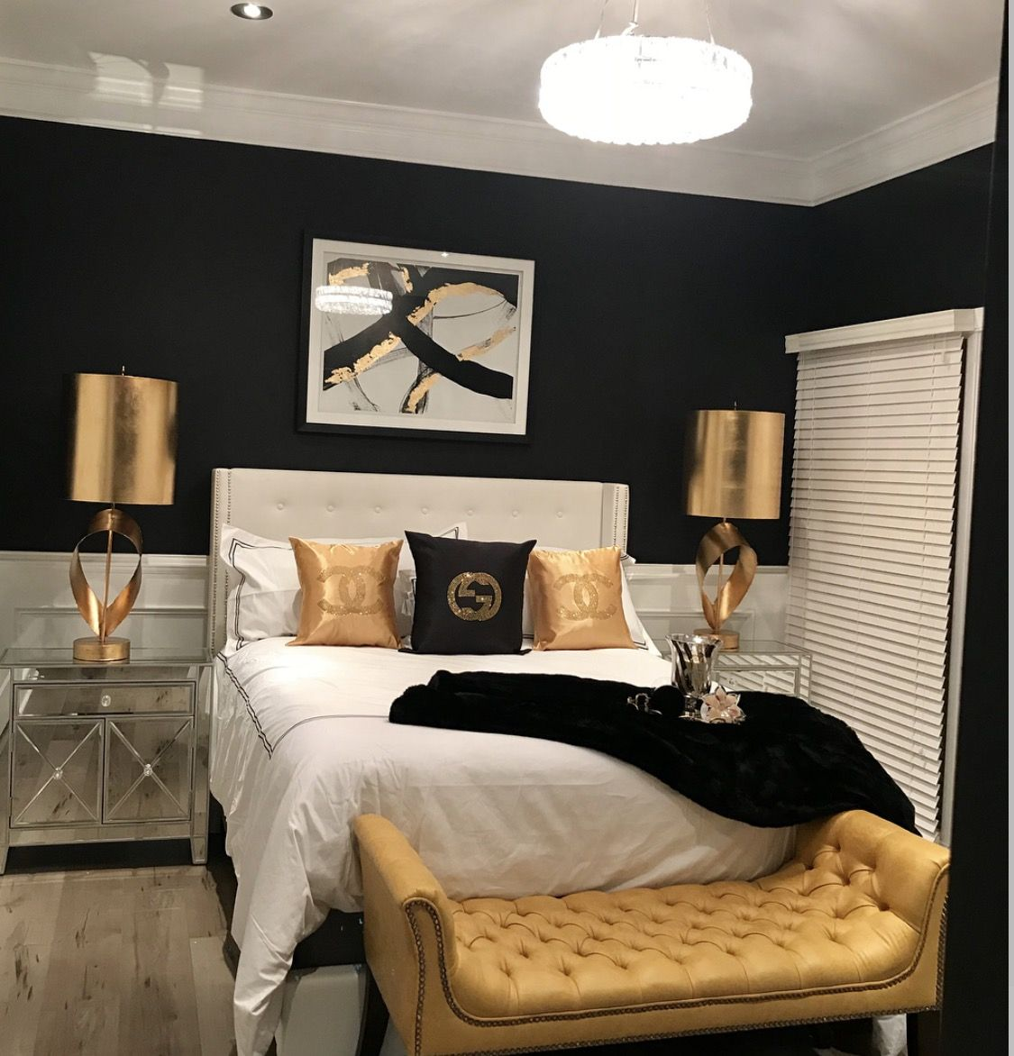 Black. White. Gold. | Gold bedroom, Master bedrooms decor ...