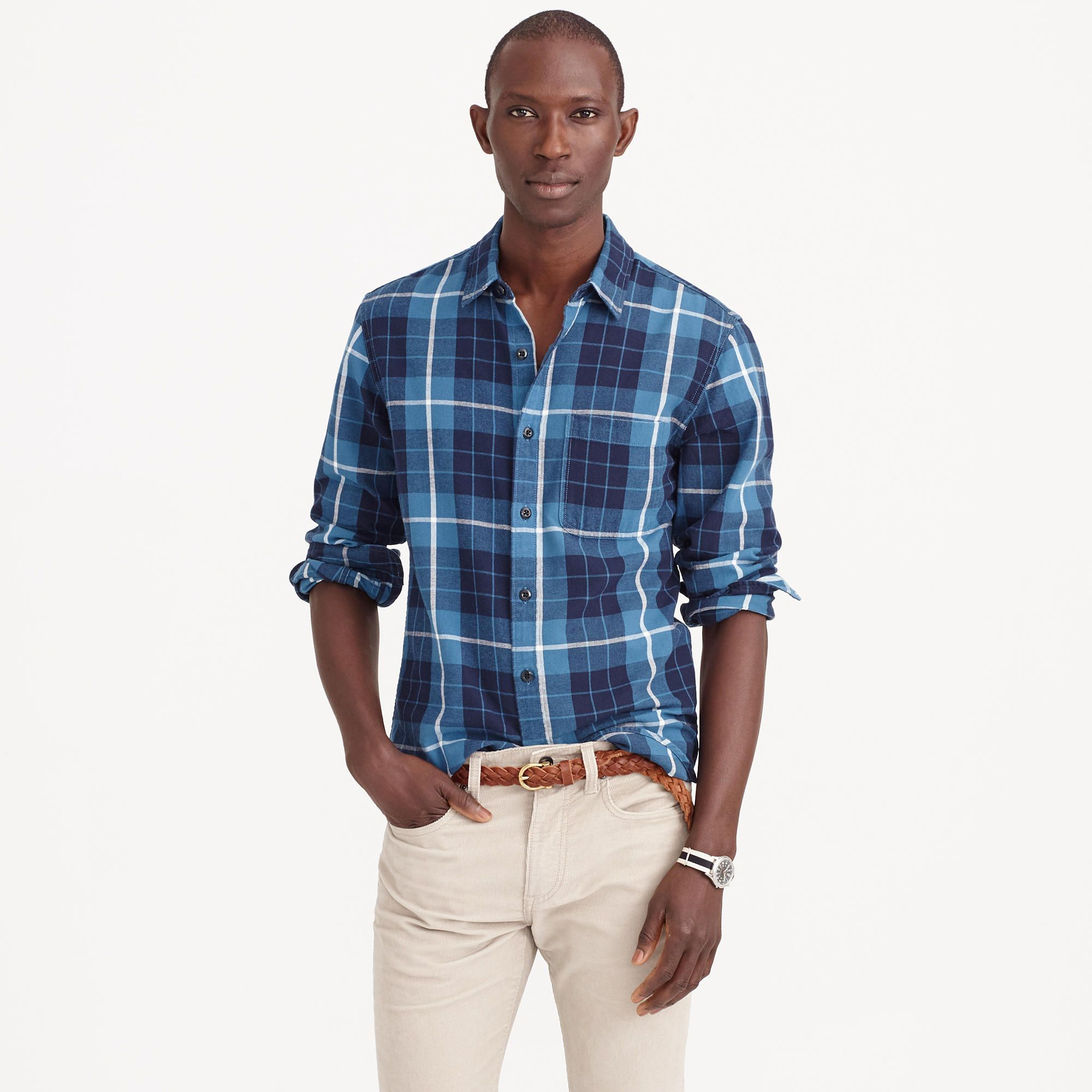 5835e9ec6443 Midweight flannel shirt in coastal navy plaid   shirts